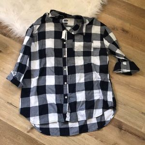 Navy & White Flannel, Size L - NWT